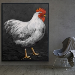 Framed 48 x 60 - Grey rooster 2