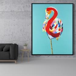 Framed 48 x 60 - Colorful flamingo