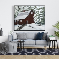 Framed 48 x 60 - Red barn in snow