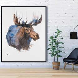 Framed 48 x 60 - Abstract blue moose