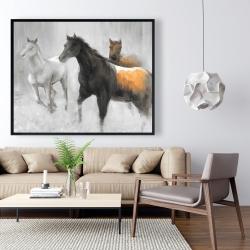 Framed 48 x 60 - Abstract herd of horses