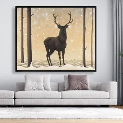Framed 48 x 60 - Roe deer in winter