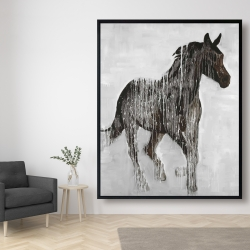 Framed 48 x 60 - Abstract brown horse