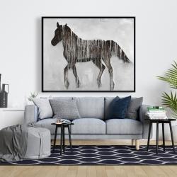 Framed 48 x 60 - Gambading abstract horse