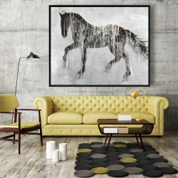 Framed 48 x 60 - Horse brown silhouette