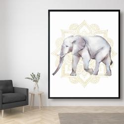 Framed 48 x 60 - Elephant on mandalas
