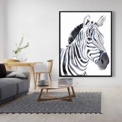 Framed 48 x 60 - Watercolor zebra