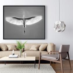 Framed 48 x 60 - Great blue heron in flight - bird
