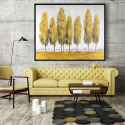 Framed 48 x 60 - Abstract yellow trees