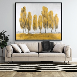 Framed 48 x 60 - Seven abstract yellow trees