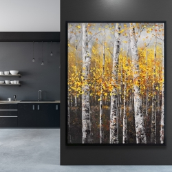 Framed 48 x 60 - Sunny birch trees