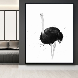 Framed 48 x 60 - Ostrich in watercolor