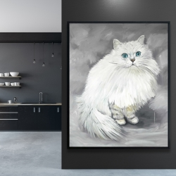 Framed 48 x 60 - Chinchilla persian cat