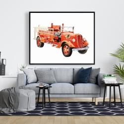 Framed 48 x 60 - Vintage fire truck