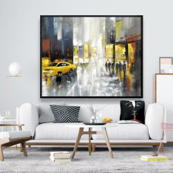 Framed 48 x 60 - Rainy busy street