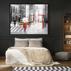 Framed 48 x 60 - Abstract cloudy city street