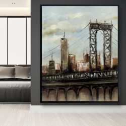 Framed 48 x 60 - City bridge by a cloudy day