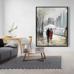 Framed 48 x 60 - Couple walking under the rain