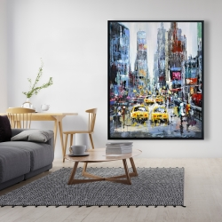 Framed 48 x 60 - Urban scene with yellow taxis