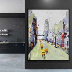 Framed 48 x 60 - Gray street with yellow and red accents