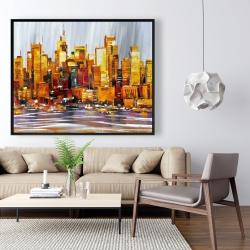 Framed 48 x 60 - Orange buildings