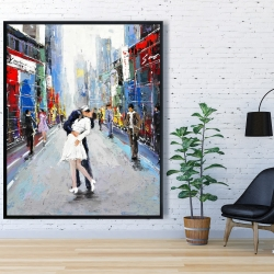 Framed 48 x 60 - Kiss of times square