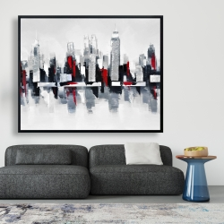 Framed 48 x 60 - Gray and red cityscape