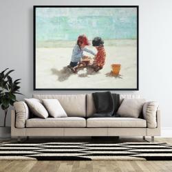 Framed 48 x 60 - Little girls at the beach