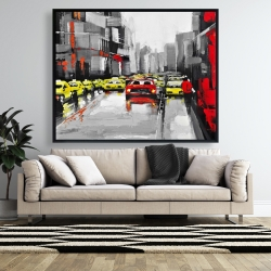 Framed 48 x 60 - Abstract traffic by a rainy day