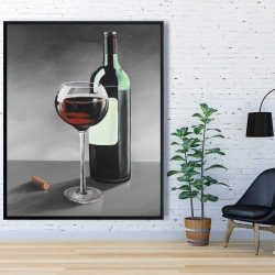 Framed 48 x 60 - Bottle of burgundy