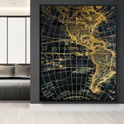 Framed 48 x 60 - Blue and marine world map globe