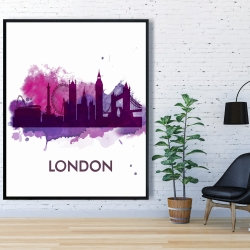 Framed 48 x 60 - Purple silhouette of london