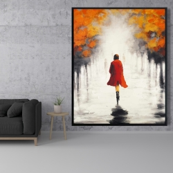 Framed 48 x 60 - Woman with a red coat by fall