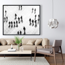 Framed 48 x 60 - Overhead view of people on the street