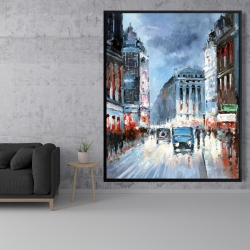 Framed 48 x 60 - Abstract red and blue city