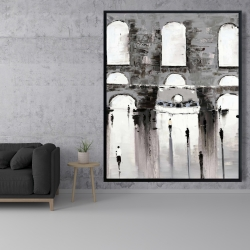 Framed 48 x 60 - Gray building with passersby