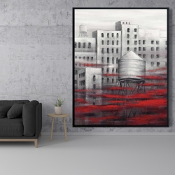 Framed 48 x 60 - Gray city with red clouds