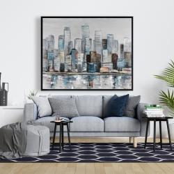 Framed 48 x 60 - Abstract urban skyline