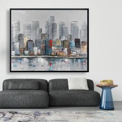 Framed 48 x 60 - Abstract city skyline