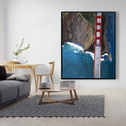 Framed 48 x 60 - Overhead view of the golden gate and mountains