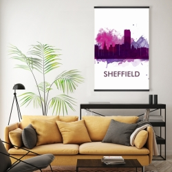 Magnetic 20 x 30 - Sheffield city color splash silhouette
