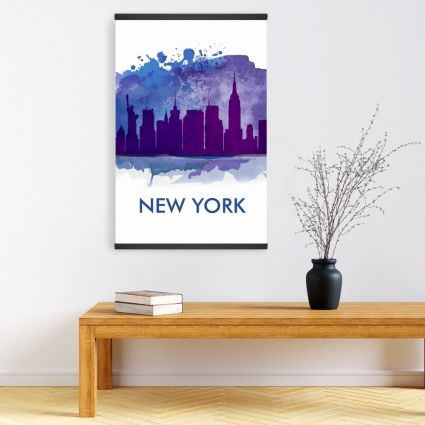 Blue silhouette of new york city