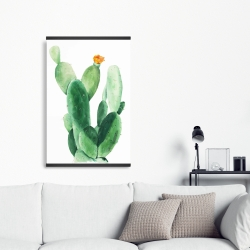 Magnetic 20 x 30 - Watercolor paddle cactus with flower
