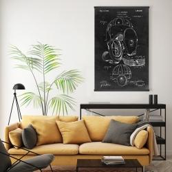 Magnetic 20 x 30 - Black blueprint of a football helmet