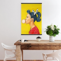 Magnetic 20 x 30 - Retro woman with beautiful ponytail