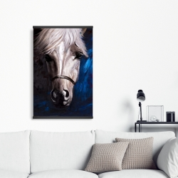 Magnetic 20 x 30 - White horse on blue background