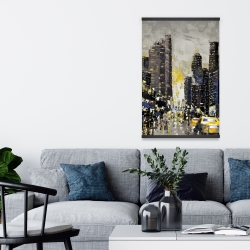 Magnetic 20 x 30 - Abstract and texturized city with yellow taxis