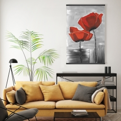 Magnetic 20 x 30 - Two red flowers on a grayscale background