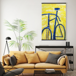 Magnetic 20 x 30 - Blue bike on yellow background