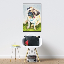 Magnetic 20 x 30 - Cute pug with a rose in his mouth